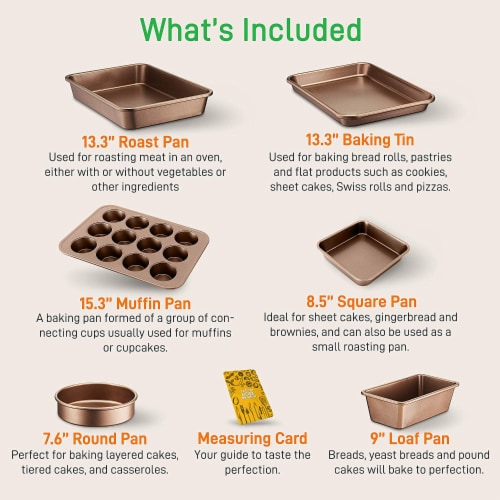 NutriChef Nonstick Cooking Kitchen Cookware Pots and Pans, 20 Piece Set, Bronze Perspective: top