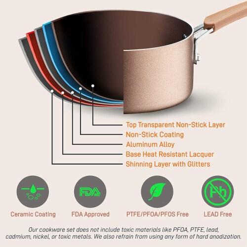 NutriChef Nonstick Cooking Kitchen Cookware Pots and Pans, 14 Piece Set, Bronze Perspective: top