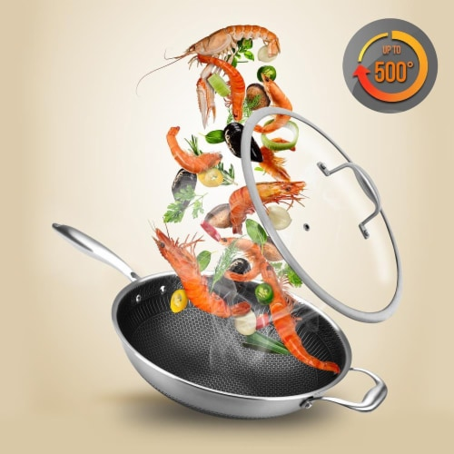"""NutriChef 12"""" Stainless Steel Nonstick Cooking Wok Stir Fry Pan with Lid, Silver Perspective: top"""