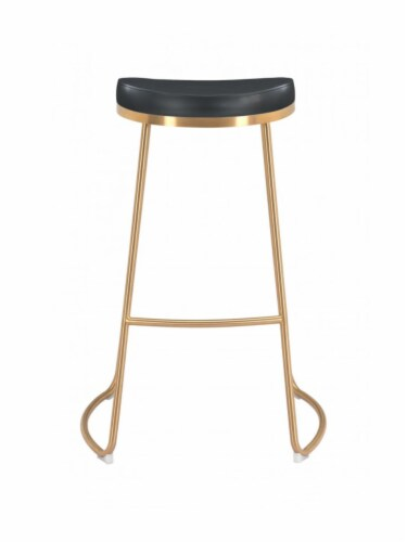 Zuo Modern Backless Bree Round Barstool - Black and Gold Perspective: top