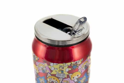 Aggretsuko Pink Power Stainless Steel Travel Can With Lid & Straw Perspective: top