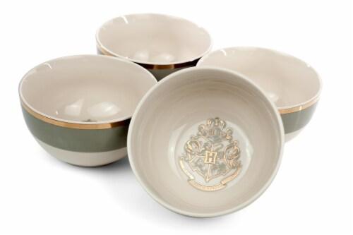 Harry Potter Hogwarts Emblem White & Grey Ceramic Bowl Collection | Set of 4 Perspective: top