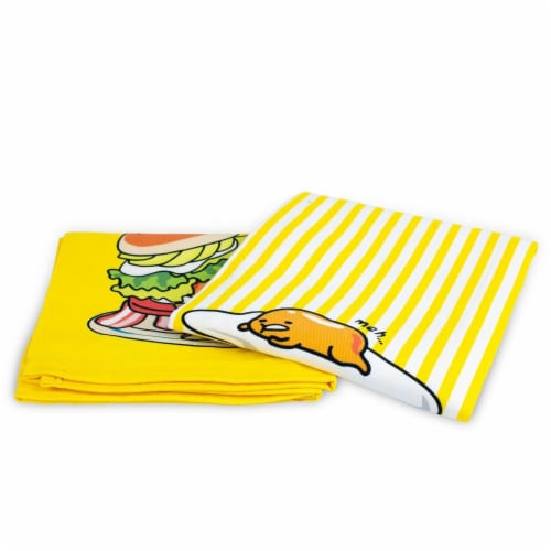 OFFICIAL Gudetama Lazy Egg Cute Dish Towels | Perfect Kitchen Accents | Set of 2 Perspective: top