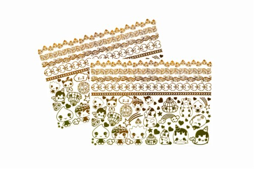Glitter Galaxy Gold Shimmer Temporary Tattoo Sheet Wave 1 Perspective: top