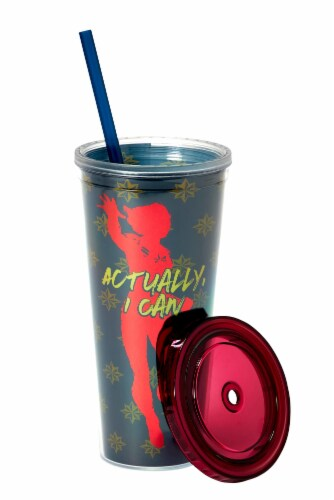 Marvel's Captain Marvel Actually I Can 16-Oz PVC Tumbler w/ Lid and Straw Perspective: top