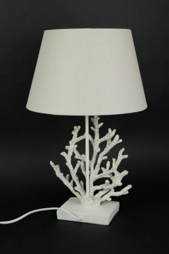 White and Gold Branch Coral Design Table Lamp With Matching Shade 21.5 Inches Tall Perspective: top