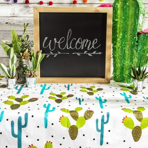 Juvale Cinco De Mayo Party Supplies, Cactus Table Cloth (54 x 108 in, 3 Pack) Perspective: top
