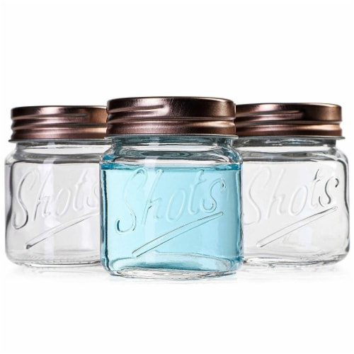 Mini Mason Jars Shot Glasses with Lids in Bulk Set (2 Ounce, 12-Pack) Perspective: top