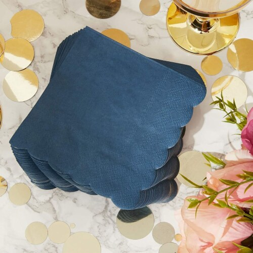 Scalloped Party Cocktail Napkins (5 x 5 In, Dark Blue, 100-Pack) Perspective: top