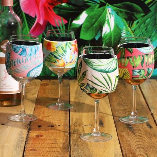 12x Neoprene Stylish Protective Wine Glass Beverage Sleeve Protector, 4 Designs Perspective: top