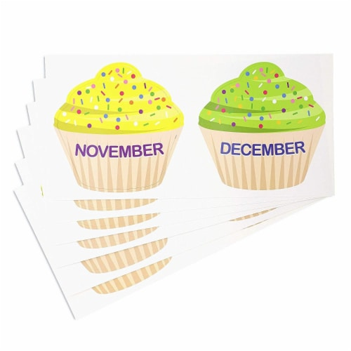 Juvale Classroom Cutouts - Birthday Cupcakes and Candles (63 Piece Set) Perspective: top