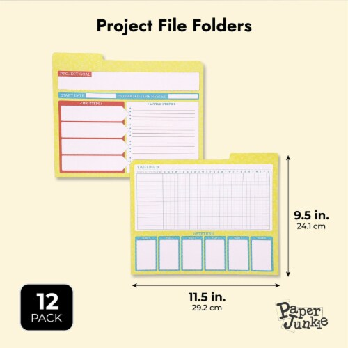 Project File Folders, 1/3 Cut Tab, Letter Size, Notes Section, 6 Colors (12 Pack) Perspective: top