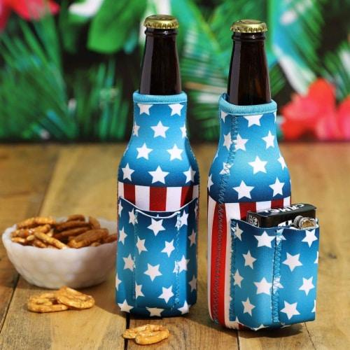 2x US American Flag Beer Bottle Cooler Sleeves with Cigarette+Lighter Holder Perspective: top