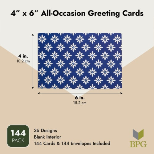 Assorted Thank You Cards Bulk, Blank Greeting Notes with Envelopes (4x6 In, 144 Pack) Perspective: top