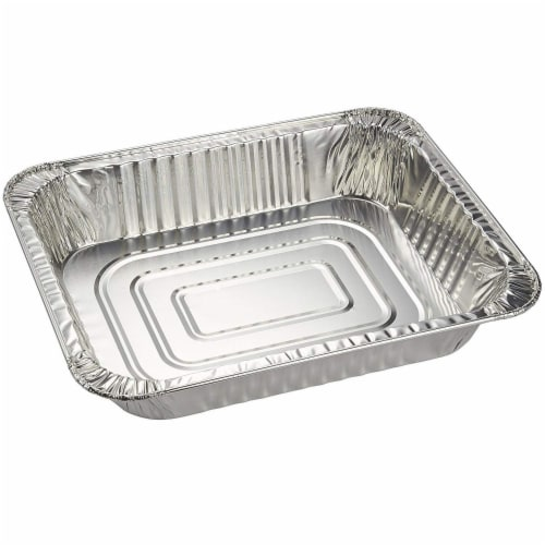 Aluminum Foil Pans 20-Piece Half-Size Deep Disposable Steam Table Pans with Lids Perspective: top