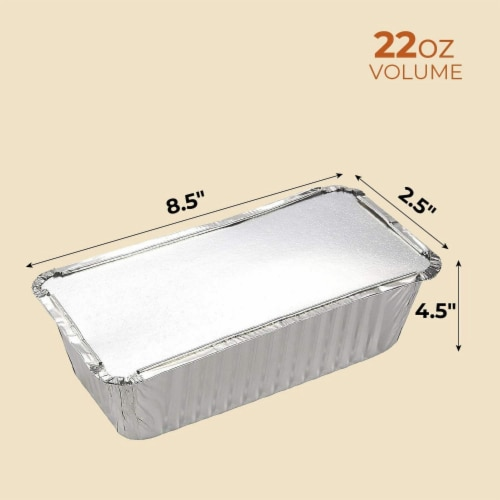 50 Pack Disposable Aluminum Foil Loaf Pans with Lid, 22 Ounce, 8.5 x 2.5 x 4.5 inches Perspective: top