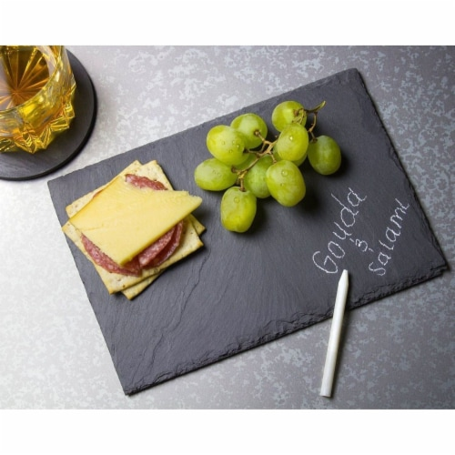 Mini Slate Cheese Boards 6PC Charcuterie Cheese and Meat Serving Board +3 Chalks Perspective: top