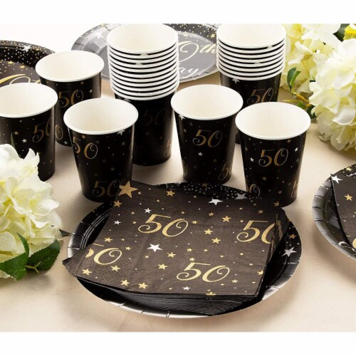 50th Birthday Party Dinnerware Bundle, Serves 24 Guests (144 Pieces) Perspective: top
