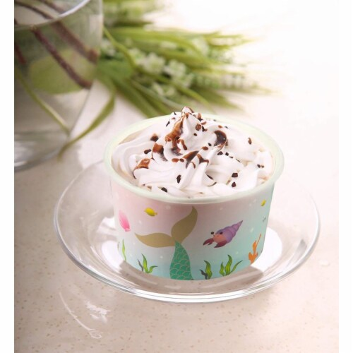 Ice Cream Sundae Cups - 50-Piece Disposable Paper Dessert Ice Cream Yogurt Bowls Perspective: top