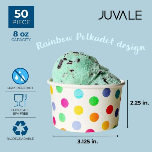 Rainbow Polka Dot Paper Ice Cream Cups for Birthday Party (8 oz, 50 Pack) Perspective: top