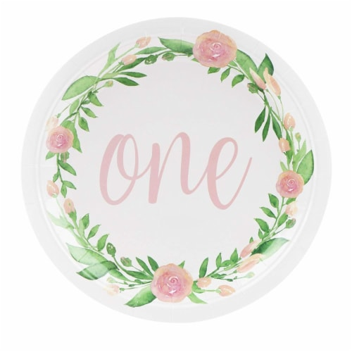 1st Birthday Party Dinnerware, with Plates, Napkins, Cups and Cutlery (Serves 24, 144 Pieces) Perspective: top