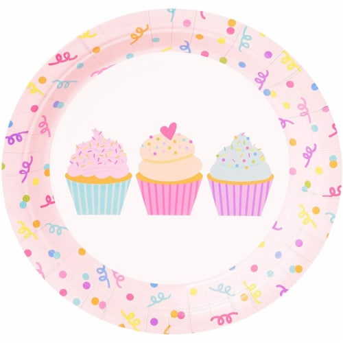 Cupcake Party Supplies, Paper Plates, Napkins, Cups and Cutlery (Serves 24, 144 Pieces) Perspective: top