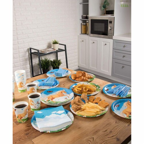 Horse Party Supplies, Paper Plates, Napkins, Cups and Plastic Cutlery (Serves 24, 144 Pieces) Perspective: top