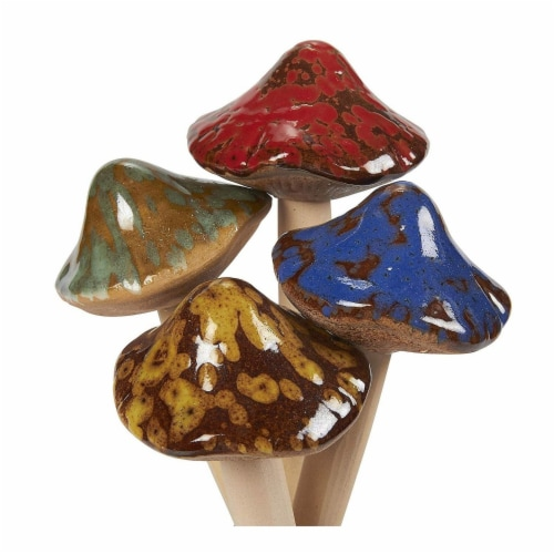 4 Piece Ceramic Mushroom Garden Ornament Set for Fairy Garden Lawn Decoration Perspective: top