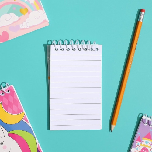 Mini Spiral Notepads, Unicorn Design (3 x 5 Inches, 24-Pack) Perspective: top