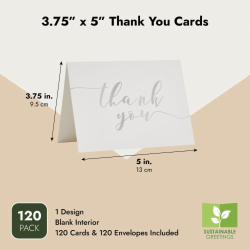 Blank Thank You Cards Bulk with Envelopes for Wedding Shower (3.75x5 In, 120 Pack) Perspective: top