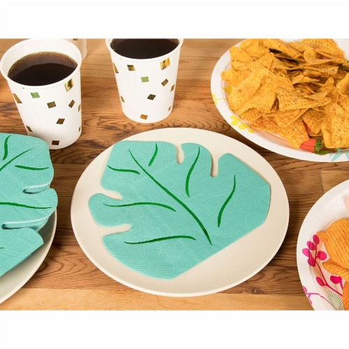 Green Leaf Shape Paper Napkins for Hawaiian Luau Party (6.4 x 6.2 In, 50 Pack) Perspective: top