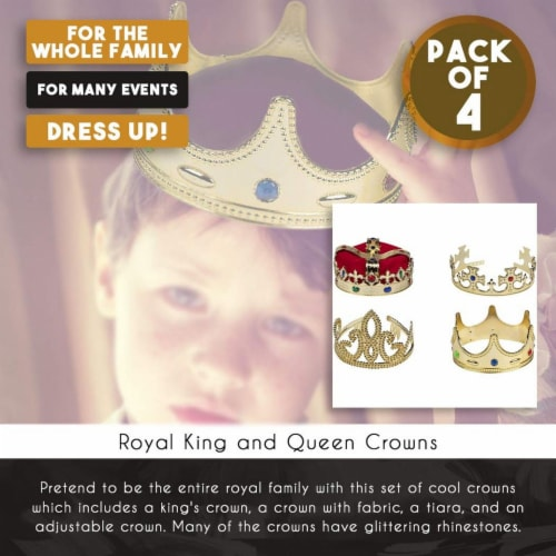 Gold Crown - 4-Pack Royal King and Queen Jeweled Costume Accessories, Party Hat Perspective: top