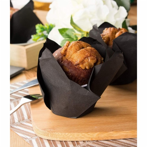 100-Pack Cupcake Muffin Liners Baking Cups for Weddings Baby Showers, Black Perspective: top