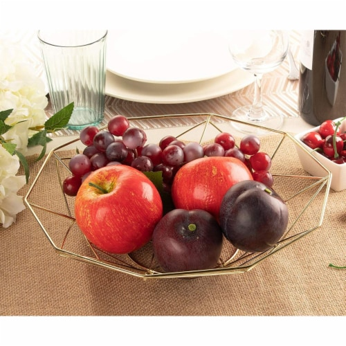 2 Pcs Wire Fruit Basket, Modern Metallic Gold Fruit Bowl with Geometric Design Perspective: top