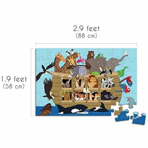 Noah's Ark Jumbo Floor Jigsaw Puzzle for Kids and Family, Age 3-5, 48-Piece, 1.9 x 2.9 Feet Perspective: top