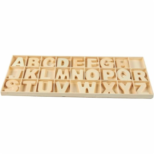 104 Piece Set Wooden Letters with Storage Tray - 4 Piece Each Letter, Natural Perspective: top