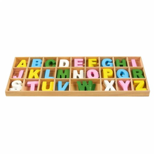 260-Piece Wooden Craft Alphabet Letters with Storage Tray Set, Multicolor 1 Inch Perspective: top
