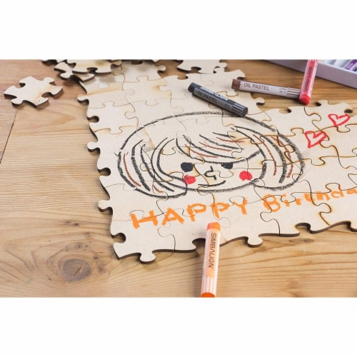 Blank Unfinished Wooden Jigsaw Puzzle (100 Pieces) Perspective: top