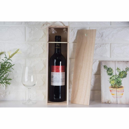 Juvale 2-Pack Wooden Wine Gift Box with Handle for Party, Housewarming, 13.9 x 3.9 x 4 Inches Perspective: top