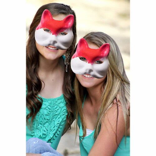 12 Pack Paper Mardi Gras Paper Masks - for DIY and Masquerade Party, White Perspective: top