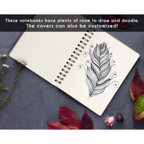Wooden Cover Spiral Journal Notebooks, 20 Sheets Each (4.5 x 5.8 In, 4 Pack) Perspective: top