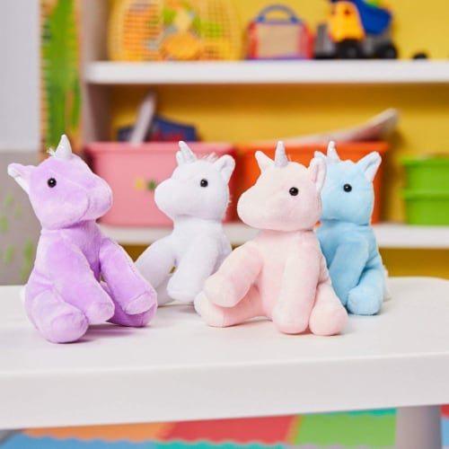 "4-Pack 7"" Stuffed Plush Unicorns Toy - with Silver Horns, for Kids Birthday Gift Perspective: top"