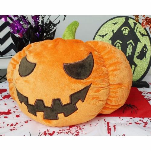 "Jack-O-Lantern Pumpkin Plush Stuffed Doll, Halloween Toy Pillow Cushion Gift 9"" Perspective: top"