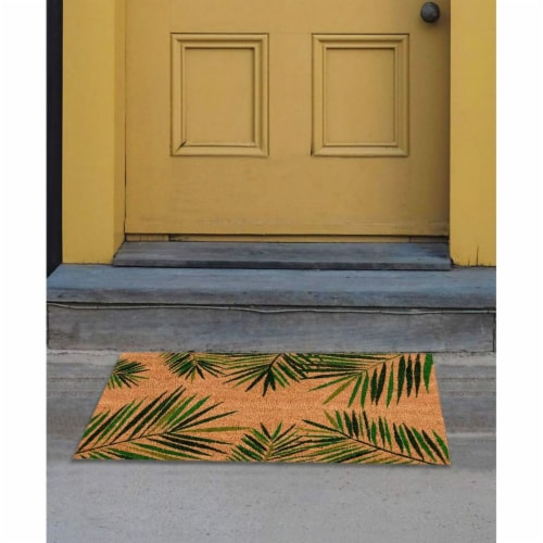 Tropical Green Palm Welcome Mat, Natural Coir Doormat (30 x 17.2 x 0.5 in) Perspective: top