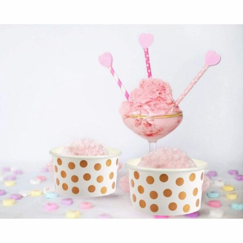 50-Pack 8 oz Disposable Paper Ice Cream Cup, Rose Gold Foil Polka Dots Design, White Perspective: top
