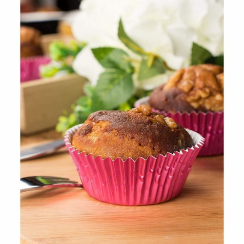Pink Foil Cupcake Liners, Baking Cups (2 x 1 In, 200-Pack) Perspective: top