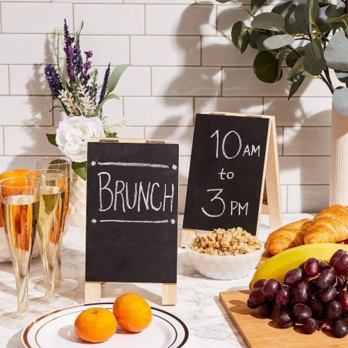 2-Pack Small Chalkboards with Frames, Easel Menu Board for Wedding Parties (4.5 x 7.5 in) Perspective: top