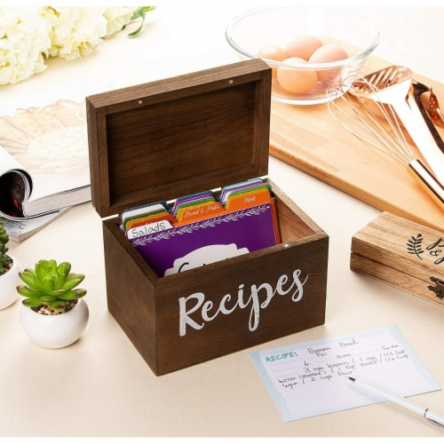 """Juvale Wood Recipe Organization Box with Cards and Dividers, 7.1"""" x 5"""" x 4.7"""" Perspective: top"""