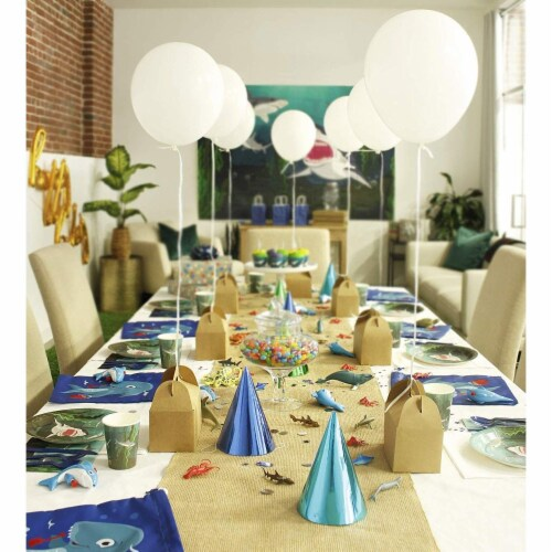 Shark Party Bundle Includes Plates, Napkins, Cups, and Cutlery (Serves 24, 144 Pieces) Perspective: top