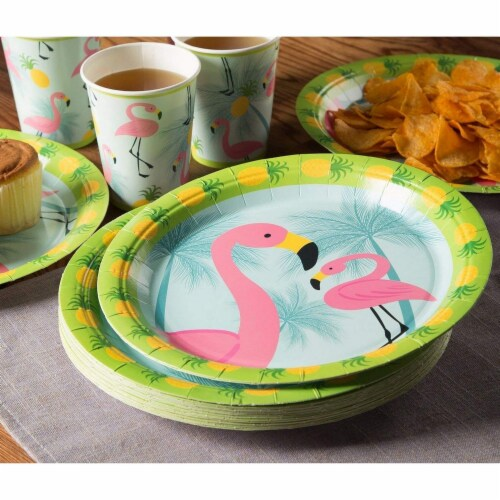 Flamingo Party Bundle Includes Plates, Napkins, Cups, and Cutlery (Serves 24,144 Pieces) Perspective: top